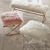 Acrylic Bench with faux fur leather